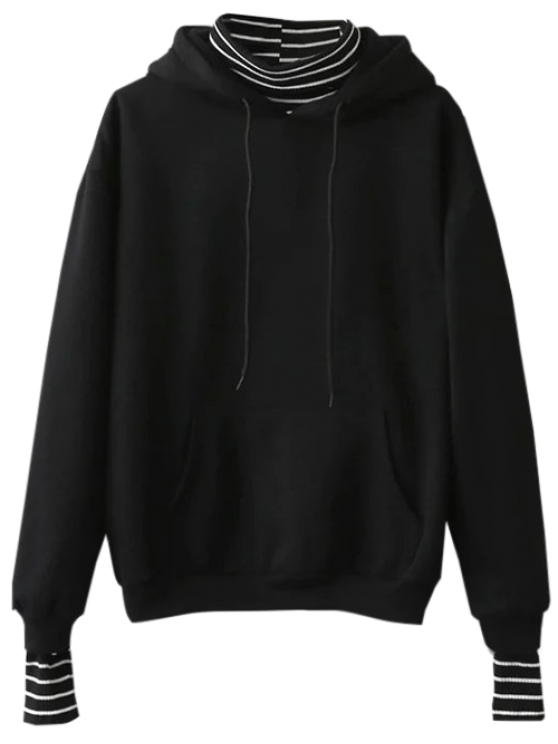 fashion Oversized Layered Look Pullover Hoodie - BLACK ONE SIZE