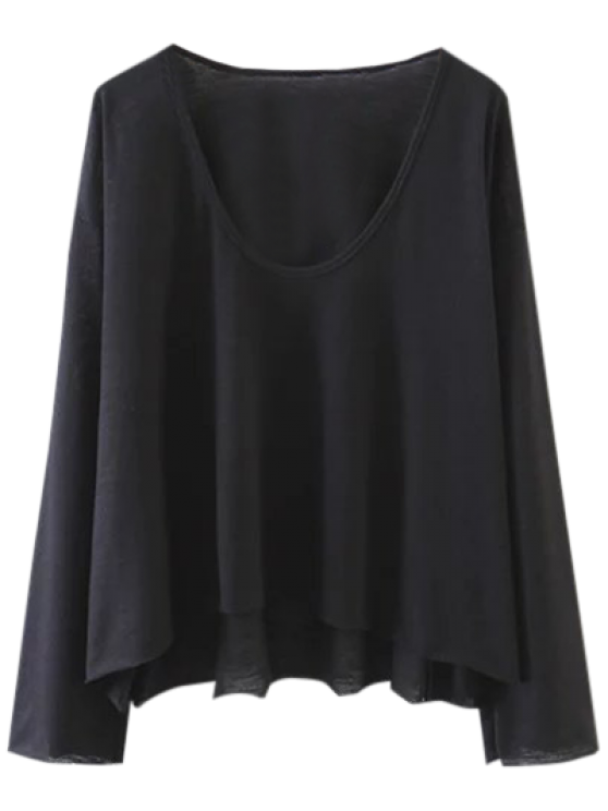 unique Long Sleeve Swing Tee - BLACK S