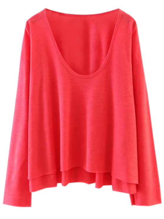 affordable Long Sleeve Swing Tee - RED M