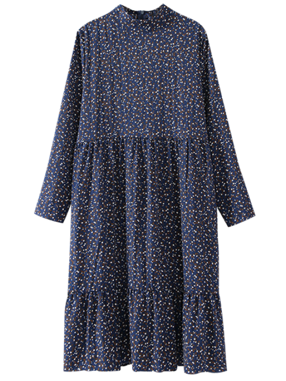 shop Tiny Floral Long Sleeve Smock Dress - CADETBLUE ONE SIZE