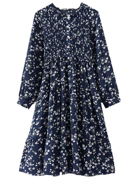 hot Floral Smocked Long Sleeve Swing Dress - CADETBLUE ONE SIZE