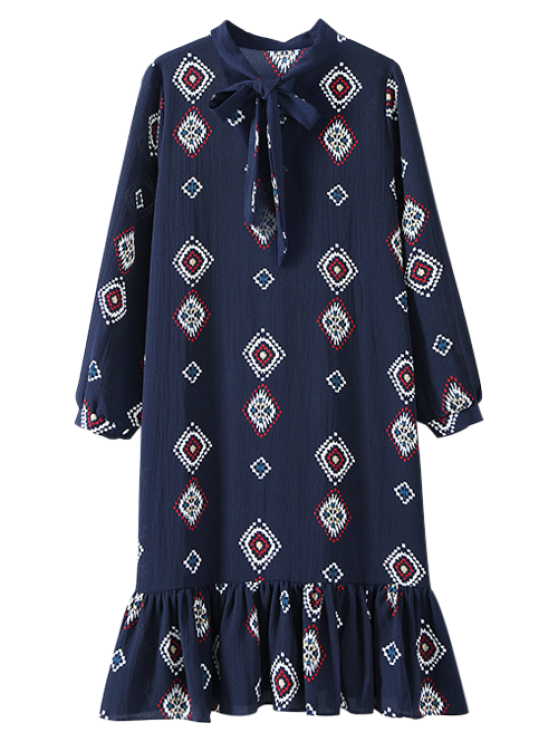 outfits Geometric Bow Tie Long Sleeve Dress - CADETBLUE ONE SIZE
