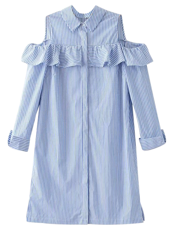 Cold Shoulder Ruffle Striped Shirt LIGHT BLUE: Blouses | ZAFUL