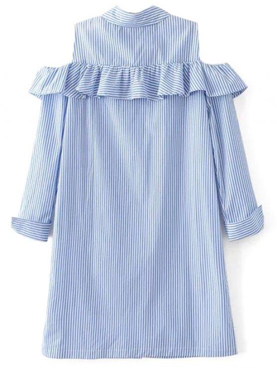 Cold Shoulder Ruffle Striped Shirt - LIGHT BLUE M Mobile