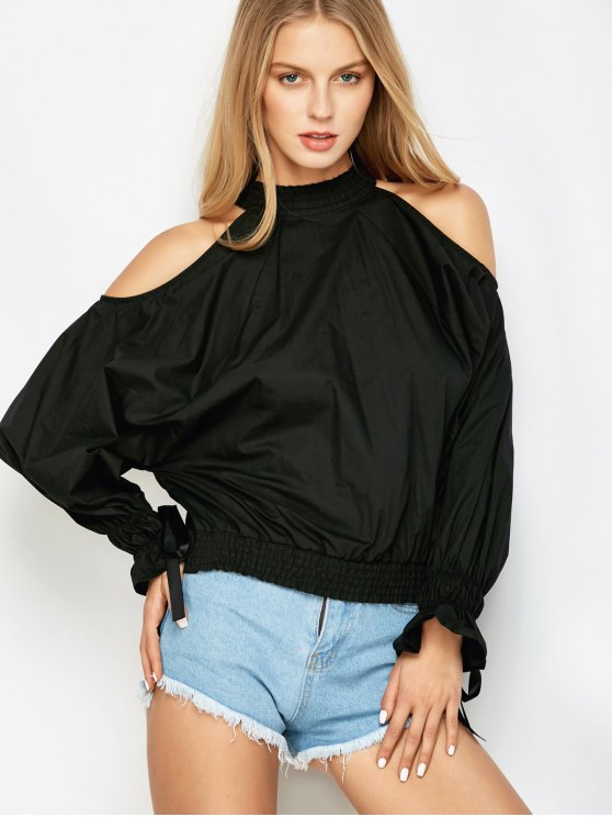 Cold Shoulder Blouse - BLACK L Mobile