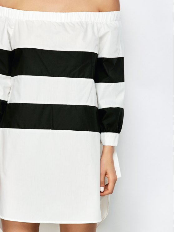 High Low Striped Off Shoulder Dress - WHITE AND BLACK XL Mobile