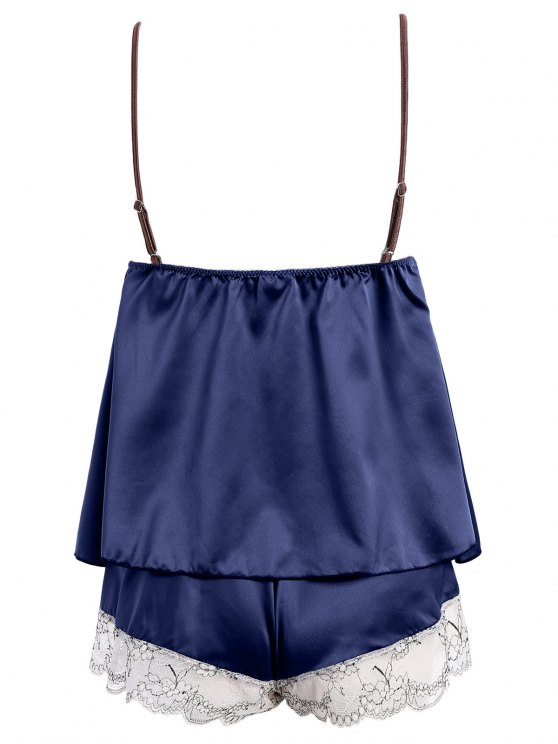 Lacework See-Through Tank Top and Elastic Waist Shorts Pajamas - DEEP BLUE ONE SIZE Mobile