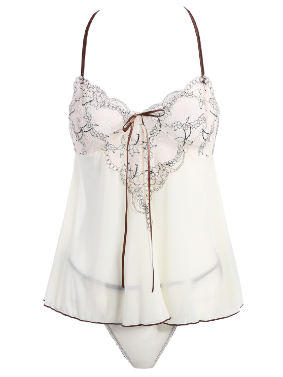 See-Through Lace Panel Babydoll - WHITE ONE SIZE Mobile