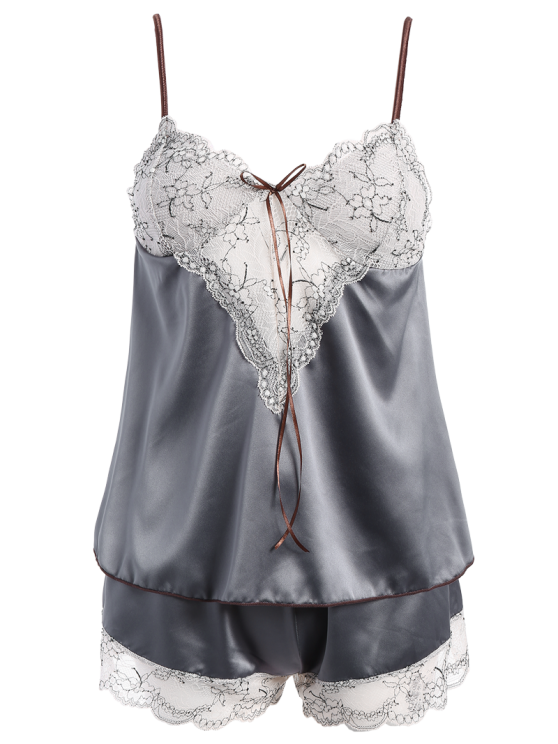 Lacework See-Through Tank Top and Elastic Waist Shorts Pajamas - GRAY ONE SIZE Mobile