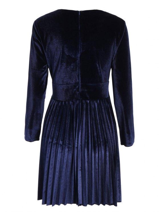 Velvet Long Sleeve Choker Pleated Dress - PURPLISH BLUE M Mobile