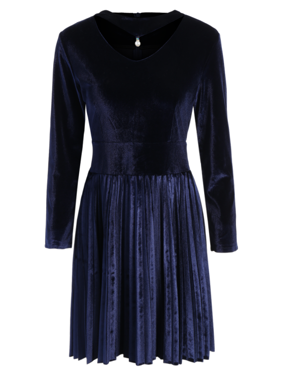 unique Velvet Long Sleeve Choker Pleated Dress - PURPLISH BLUE M