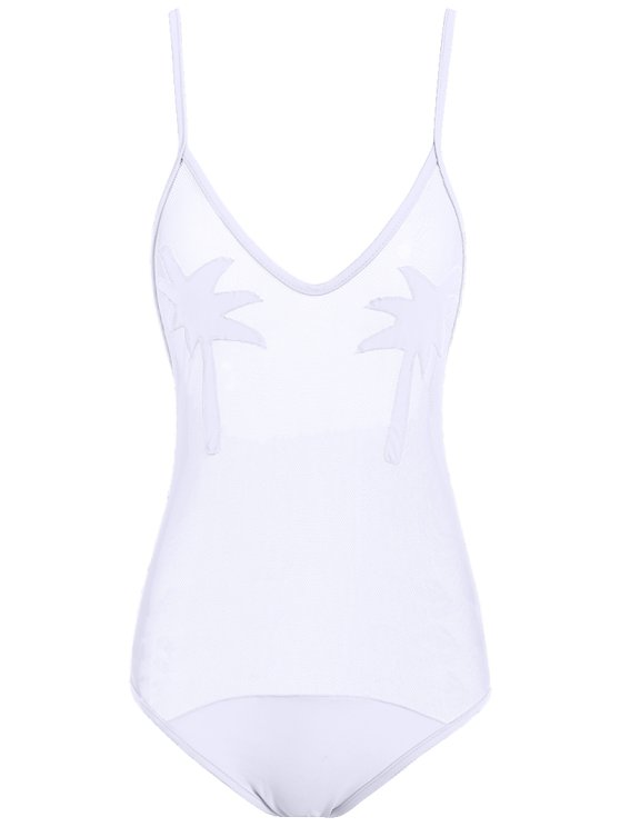 fancy Palm Tree See Through Sheer Swimwear - WHITE M
