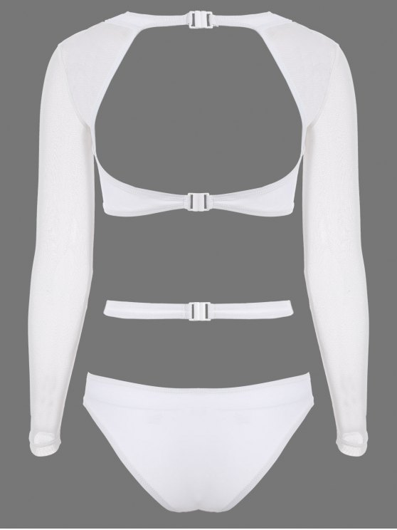 Long Sleeve Cutout High Rise Bathing Suit - WHITE M Mobile