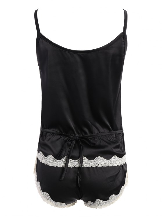 Lace Insert Tank Top and Lace Panel Panties Pajamas - BLACK ONE SIZE Mobile