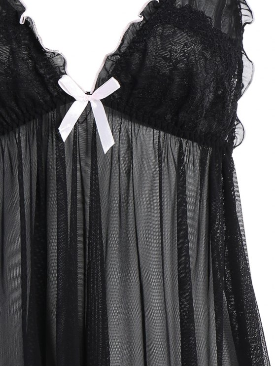 See-Through Lace Babydoll With Lace Panties - BLACK ONE SIZE Mobile