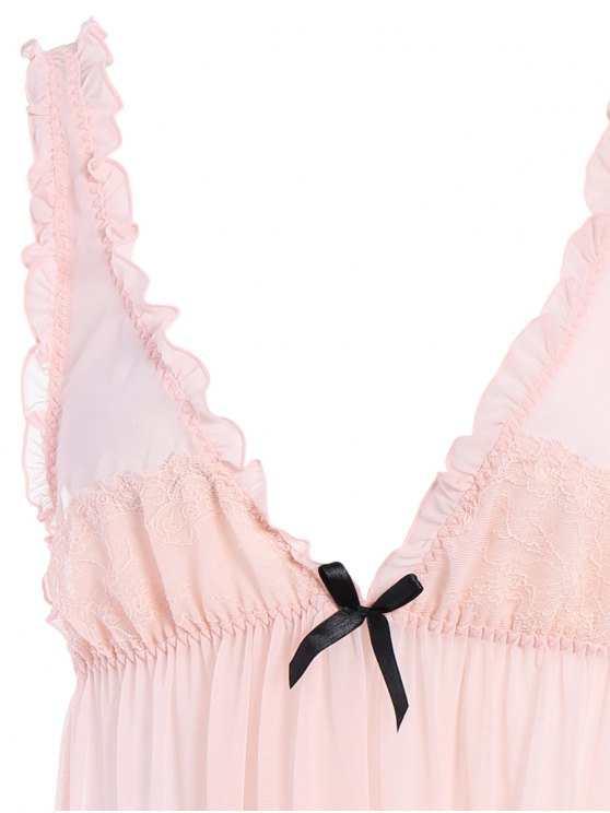 See-Through Lace Babydoll With Lace Panties - PINK ONE SIZE Mobile