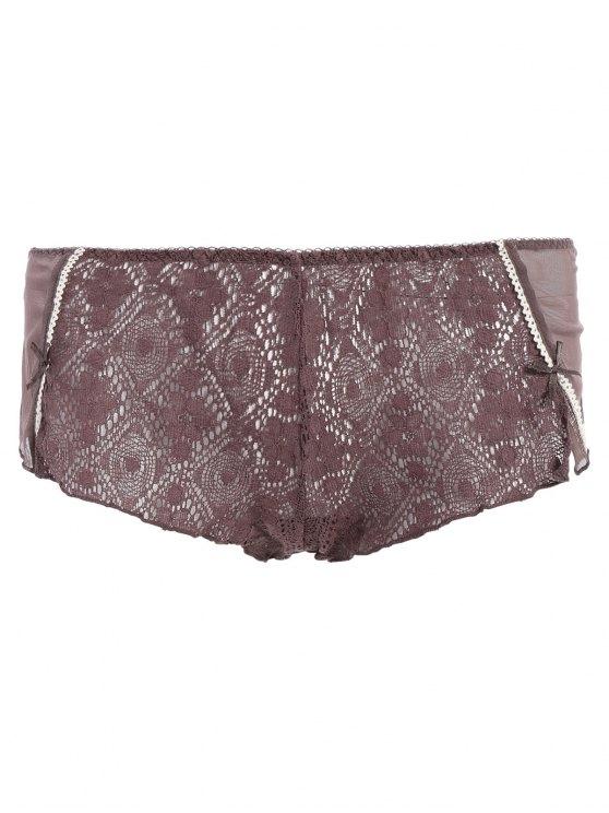Bowknot Spaghetti Strap Lace Sleepwear Suit - COFFEE L Mobile