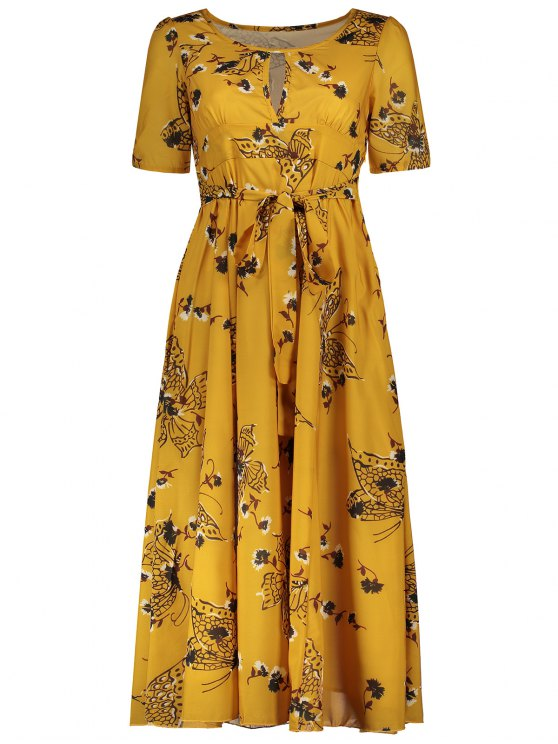 Jewel Neck Tiny Floral Print Short Sleeve Dress - YELLOW S Mobile