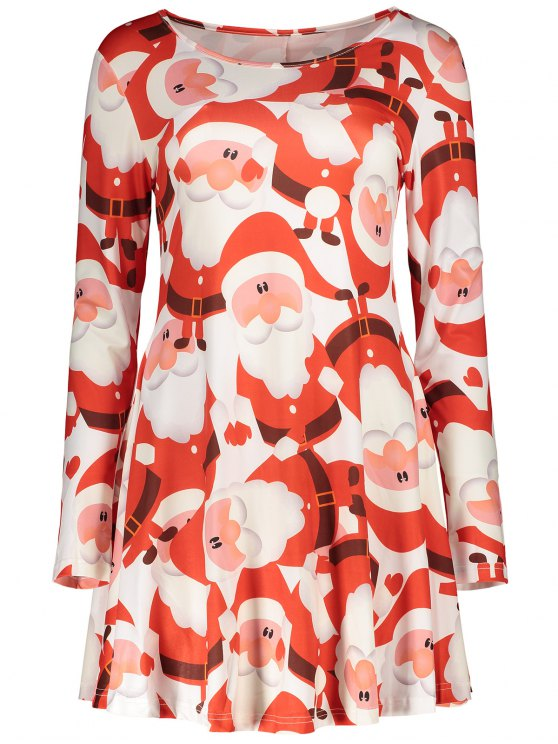 women Christmas Print Long Sleeves Dress - RED S