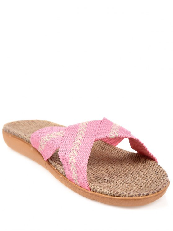 Linen Color Block Cross Straps Slippers - PINK SIZE(39-40) Mobile