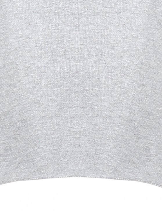 Raw Hem Cropped Sweatshirt - GRAY S Mobile
