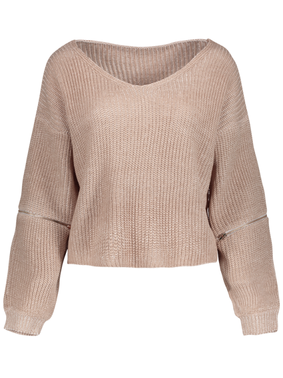 online V-Neck Zipper Sleeve Pullover Sweater - NUDE PINK ONE SIZE