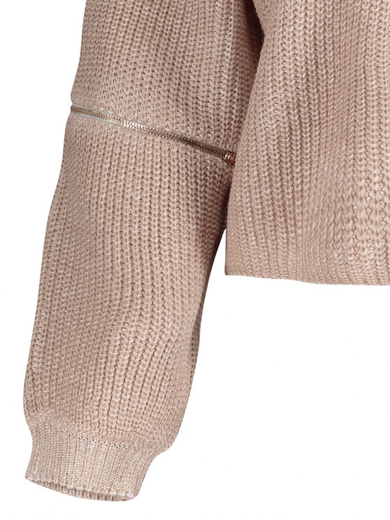 V-Neck Zipper Sleeve Pullover Sweater - NUDE PINK ONE SIZE Mobile
