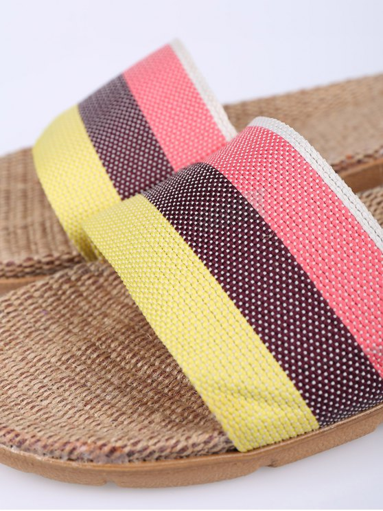Striped Color Block Linen House Slippers - PINK SIZE(37-38) Mobile
