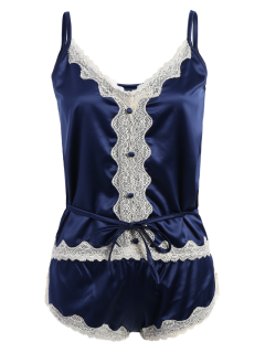 Lace Insert Tank Top And Lace Panel Panties Pajamas - Blue