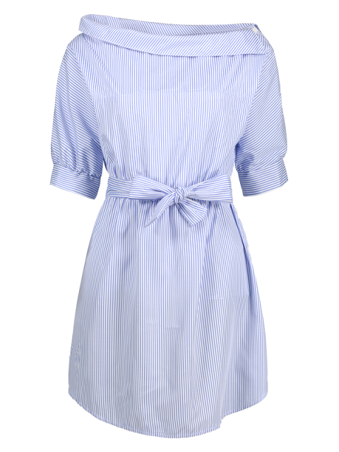 fashion Striped Asymmetric Neckline Belted Dress - BLUE AND WHITE S Mobile