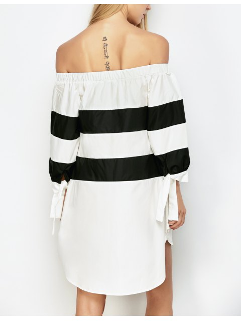 hot High Low Striped Off Shoulder Dress - WHITE AND BLACK L Mobile