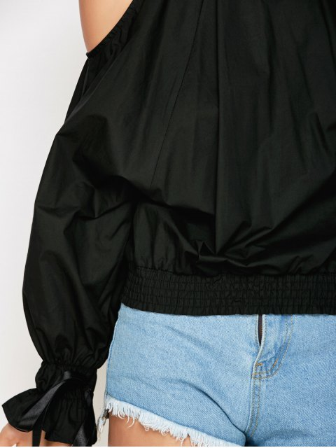 ladies Cold Shoulder Blouse - BLACK L Mobile