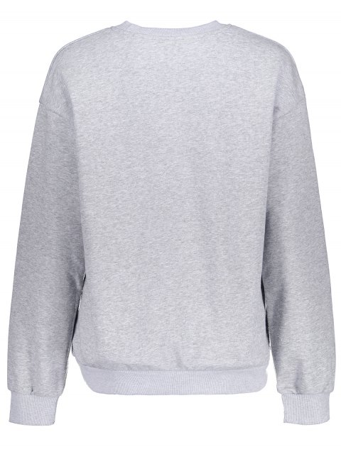 latest Loose Fitting Letter Pattern Sweatshirt - LIGHT GRAY S Mobile