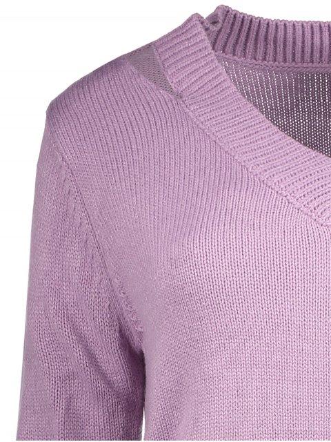 sale Pullover Zipper V Neck Sweater - PINK L Mobile