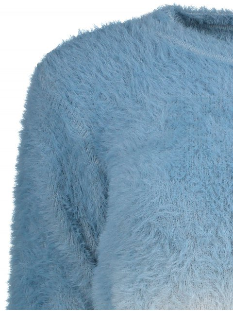 online Ombre High-Low Sweater - BLUE ONE SIZE Mobile