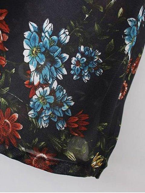 sale Long Sleeve Printed Sheer Smock Dress - PURPLISH BLUE L Mobile