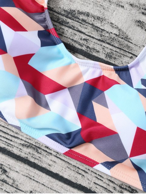 outfit High Waisted Geometric Print Bikini - COLORMIX M Mobile