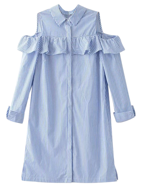 women Cold Shoulder Ruffle Striped Shirt - LIGHT BLUE M Mobile