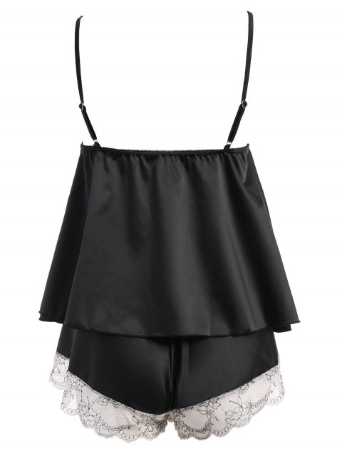 lady Lacework See-Through Tank Top and Elastic Waist Shorts Pajamas - BLACK ONE SIZE Mobile