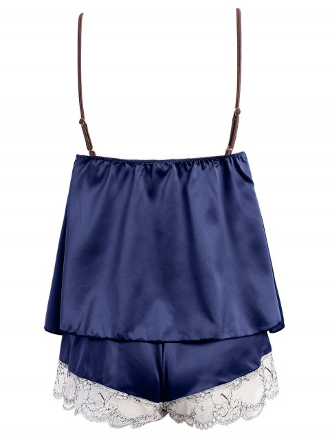 online Lacework See-Through Tank Top and Elastic Waist Shorts Pajamas - DEEP BLUE ONE SIZE Mobile