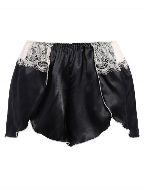 new Bowknot Lace Panel Tank Top and Flounced Shorts Pajamas - BLACK ONE SIZE Mobile