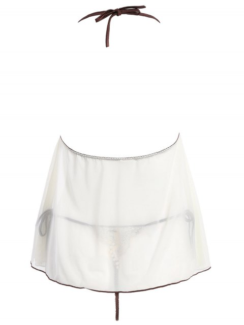 buy See-Through Lace Panel Babydoll - WHITE ONE SIZE Mobile