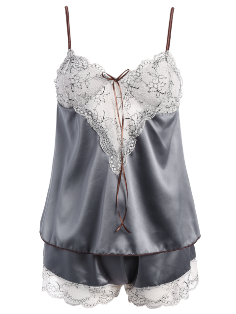 best Lacework See-Through Tank Top and Elastic Waist Shorts Pajamas - GRAY ONE SIZE Mobile