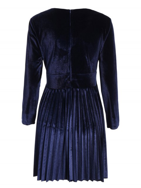 unique Velvet Long Sleeve Choker Pleated Dress - PURPLISH BLUE M Mobile