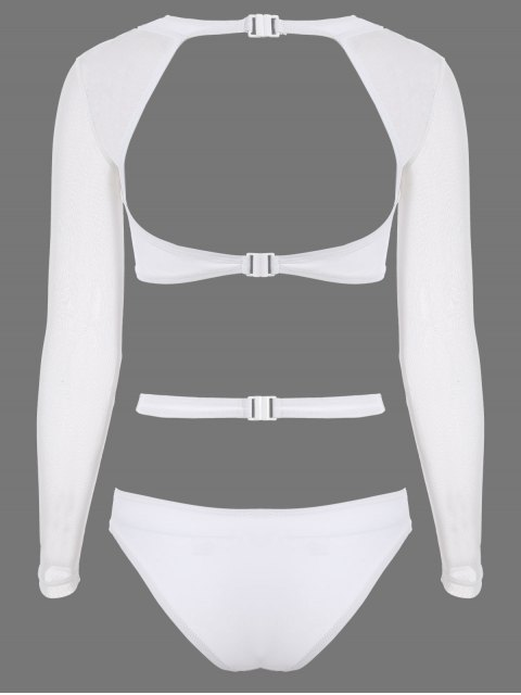 affordable Long Sleeve Cutout High Rise Bathing Suit - WHITE S Mobile