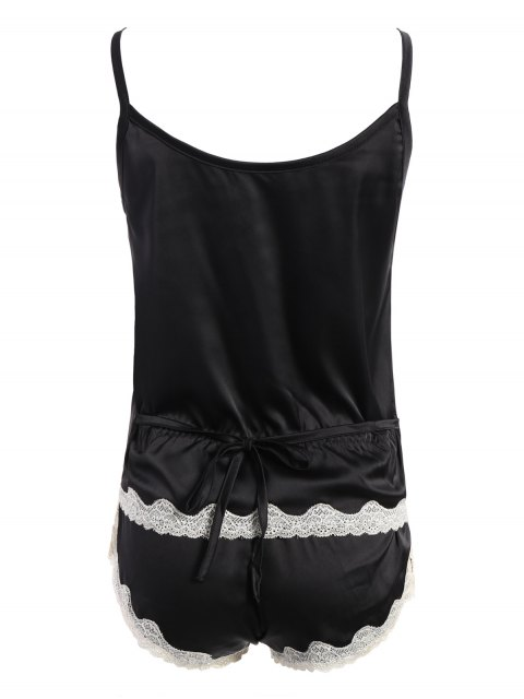 women's Lace Insert Tank Top and Lace Panel Panties Pajamas - BLACK ONE SIZE Mobile