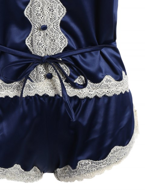 ladies Lace Insert Tank Top and Lace Panel Panties Pajamas - BLUE ONE SIZE Mobile