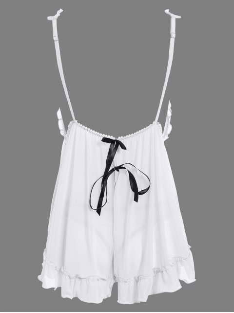 women See-Through Lace Babydoll With Lace Panties - WHITE ONE SIZE Mobile