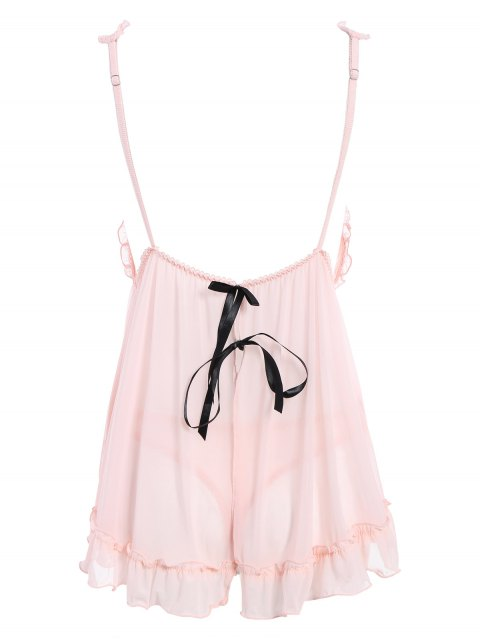 sale See-Through Lace Babydoll With Lace Panties - PINK ONE SIZE Mobile