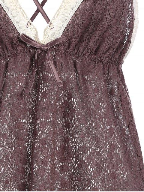 trendy Bowknot Spaghetti Strap Lace Sleepwear Suit - COFFEE L Mobile